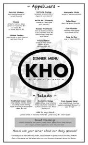 Kettle Ho Dinner Menu 2019